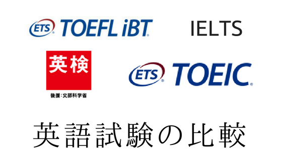 4大英語試験(英検、TOEIC、TOEFL、IELTS)の内容と英語レベルを比較